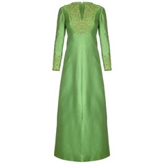 1960s Emerald Green Silk Gino Charles for Malcolm Starr Beaded Rhinestone Dress