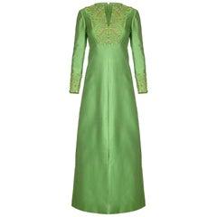1960s Emerald Green Silk Gino Charles for Malcolm Starr Beaded Rhinestone Dress
