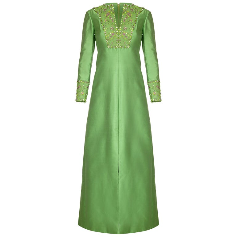 1960s Emerald Green Silk Gino Charles for Malcolm Starr Beaded Rhinestone Dress  For Sale