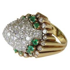 1960s Emerald Platinum Gold Diamond Cocktail Ring