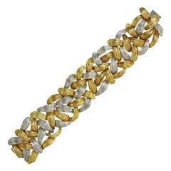 1960s Emil Meister Textured Bicolor Gold Bracelet