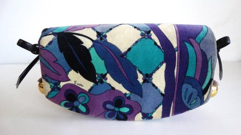1960s Emilio Pucc Velveteen Floral Pattern Clutch For Sale 1