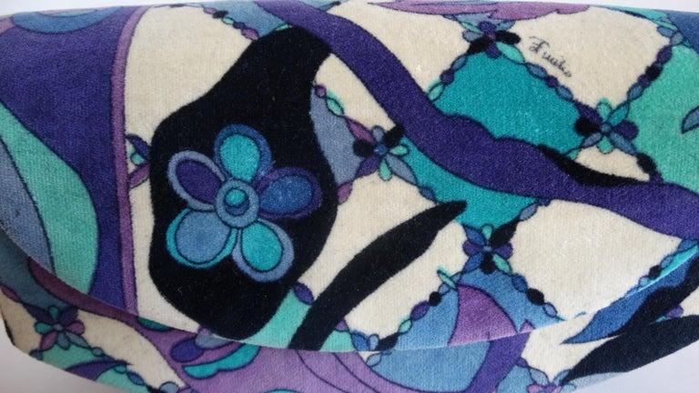 1960s Emilio Pucc Velveteen Floral Pattern Clutch For Sale 3