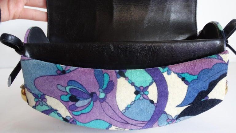 1960s Emilio Pucc Velveteen Floral Pattern Clutch For Sale 4