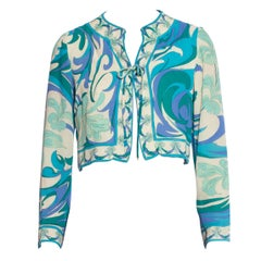 1960S EMILIO PUCCI Turquoise & White Silk Floral Psychedelic Cropped Jacket Top