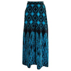 1960s Emilio Pucci Blue & Black Stunning Tassel Print Velvet Maxi Skirt