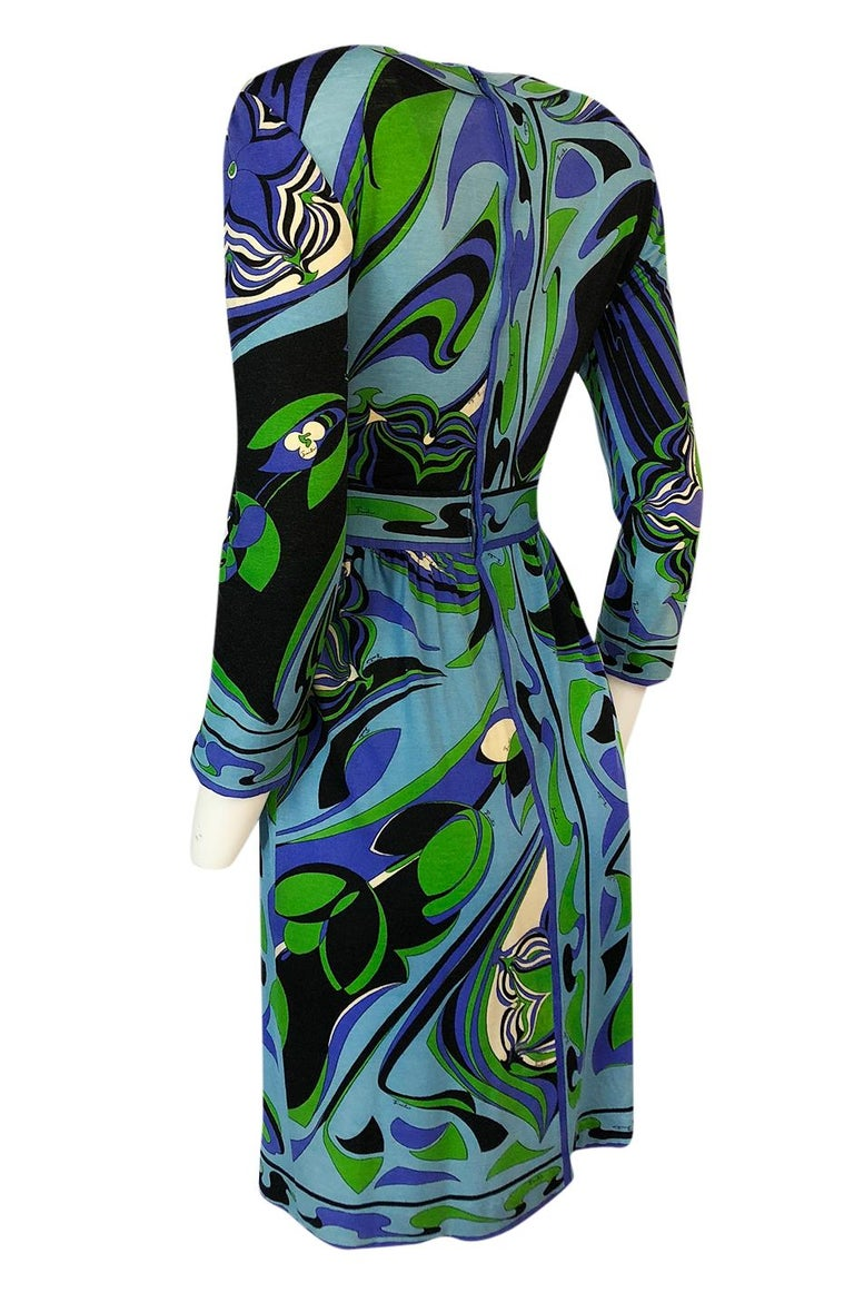 1960s Emilio Pucci Cashmere & Silk Purple & Green Classic Print Dress In Excellent Condition For Sale In Rockwood, ON