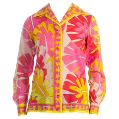 1960'S EMILIO PUCCI Hot Pink & Yellow Cotton Voile Blouse