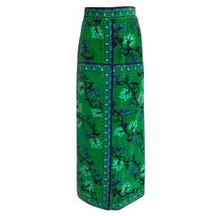 1960s Emilio Pucci Green Velvet Grape Vine Print Full Length Maxi Skirt