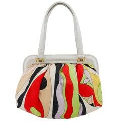 1960s Emilio Pucci Multi Colour Frame Bag with White Leather Trim