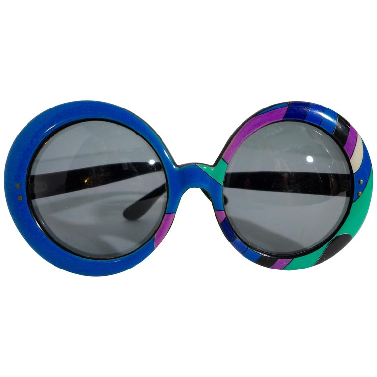 1960's EMILIO PUCCI Oversized Sunglasses with Iconic Print For Sale