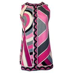 1960s Emilio Pucci Pink Geometric Print Cotton Cover Up or Mini Dress