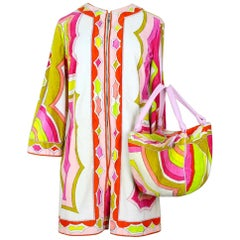 1960s Emilio Pucci Pink, Green, White Terry Cloth Velvet Playsuit & Bag Set