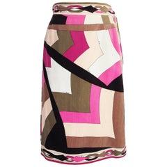 1960s Emilio Pucci Pink & Taupe Geometric Print Velvet Skirt