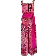 1960s Emilio Pucci Printed Pink Top, Sash & Cropped Pant Set