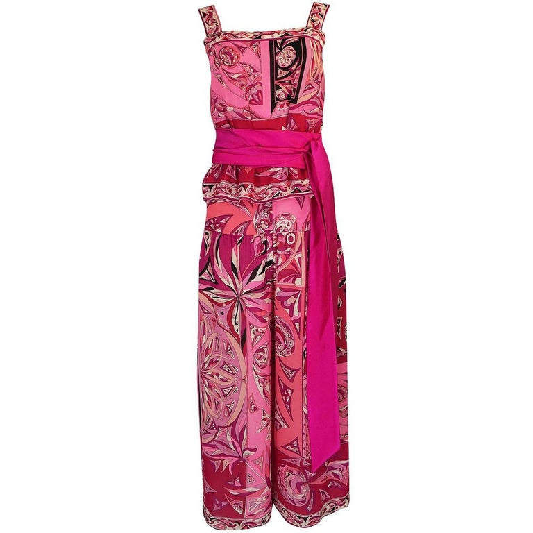 1960s Emilio Pucci Printed Pink Top, Sash & Cropped Pant Set For Sale