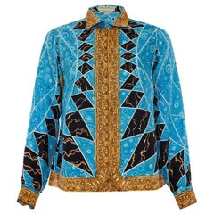 1960's Emilio Pucci Printed Silk Blouse Very Versace!