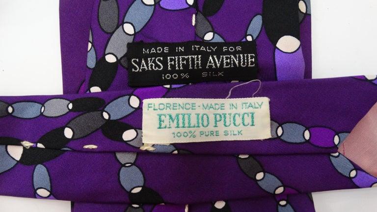1960s Emilio Pucci Printed Silk Tie In Good Condition For Sale In Scottsdale, AZ