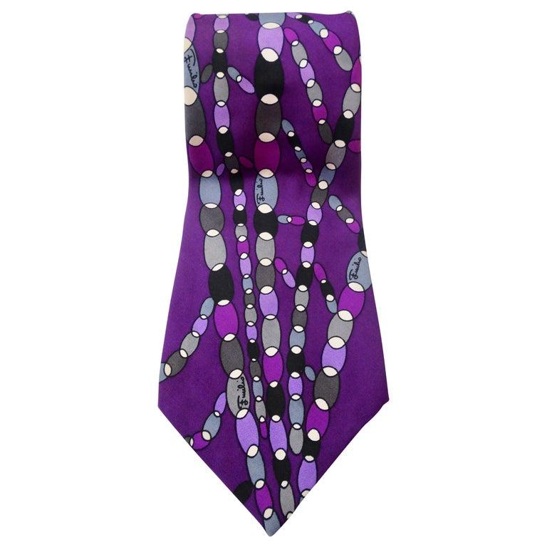 1960s Emilio Pucci Printed Silk Tie For Sale