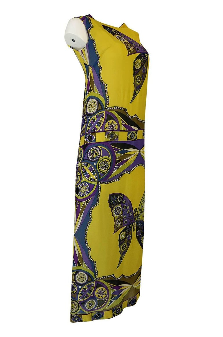 3122079dc46db Brown Emilio Pucci Silk Chiffon Dress with a Huge Butterfly Print, 1960s  For Sale