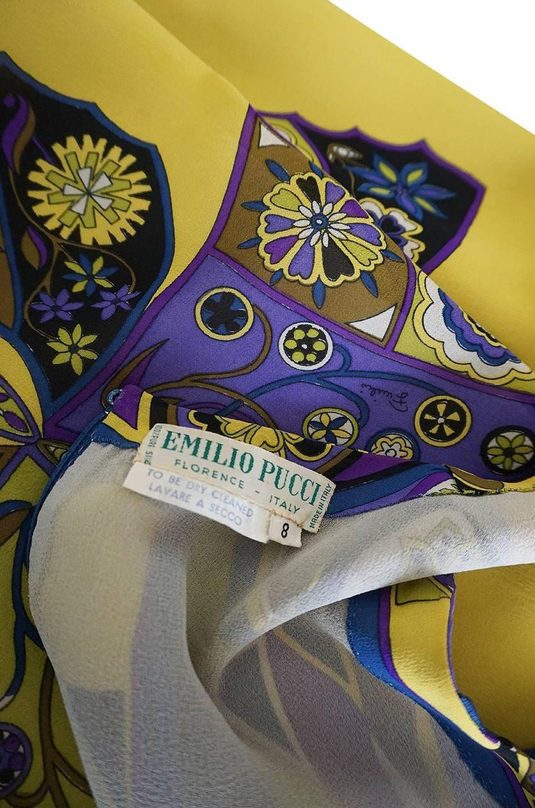 Emilio Pucci Silk Chiffon Dress with a Huge Butterfly Print, 1960s  For Sale 3