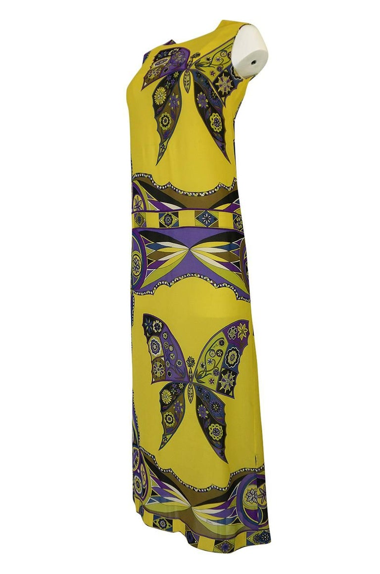 1960s Emilio Pucci Silk Chiffon Dress with a Huge Butterfly Print In Excellent Condition For Sale In Rockwood, ON