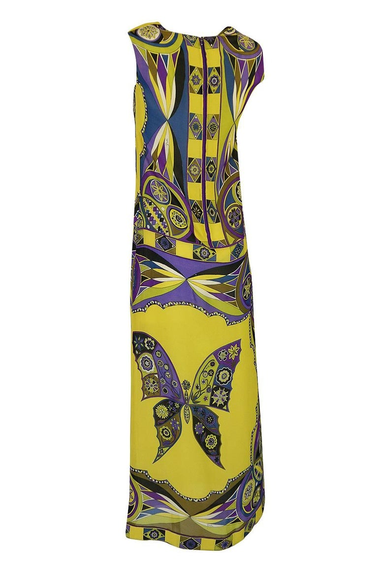 Women's 1960s Emilio Pucci Silk Chiffon Dress with a Huge Butterfly Print For Sale
