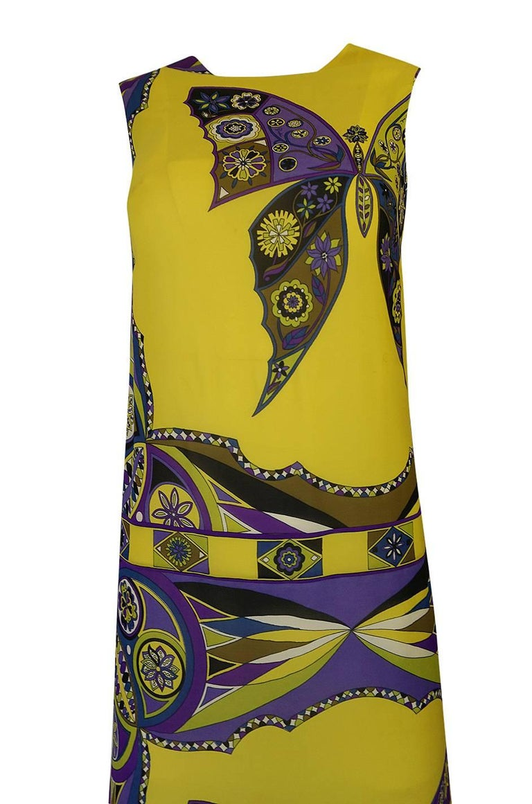 1960s Emilio Pucci Silk Chiffon Dress with a Huge Butterfly Print For Sale 1
