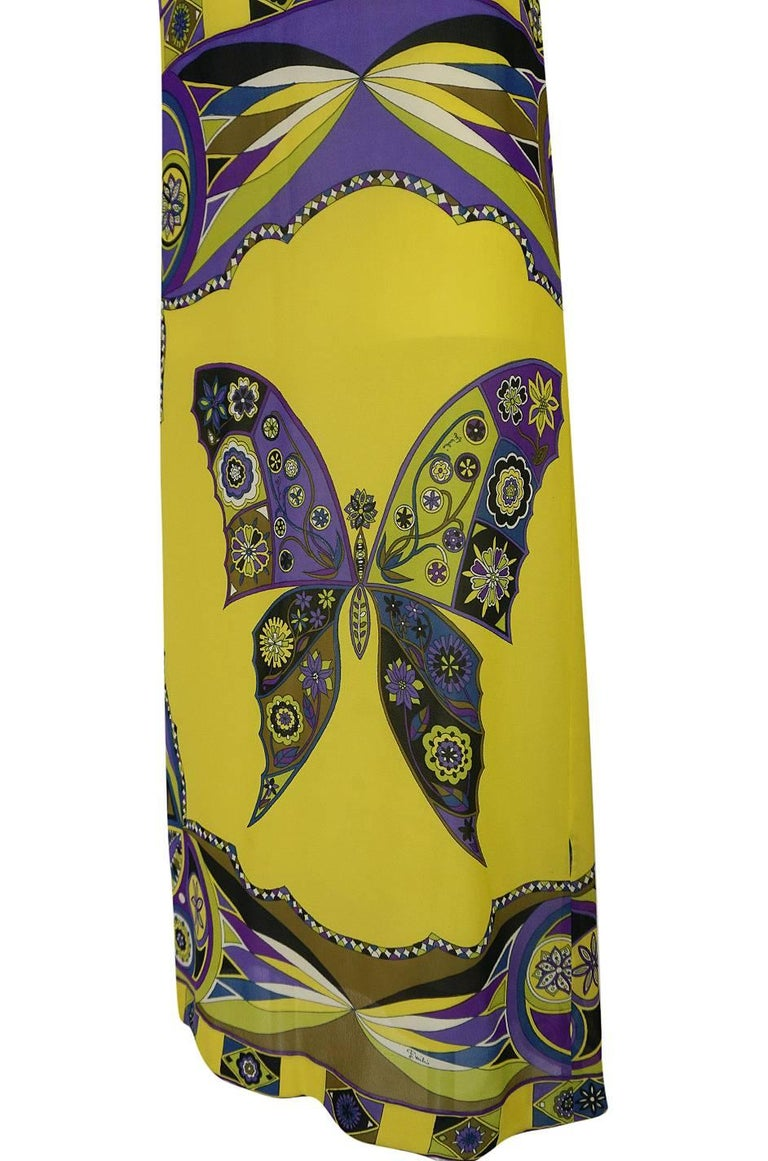 1960s Emilio Pucci Silk Chiffon Dress with a Huge Butterfly Print For Sale 2