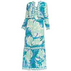 1960S EMILIO PUCCI Aqua  Blue Silk Chiffon Psychedelic Floral Print Dress
