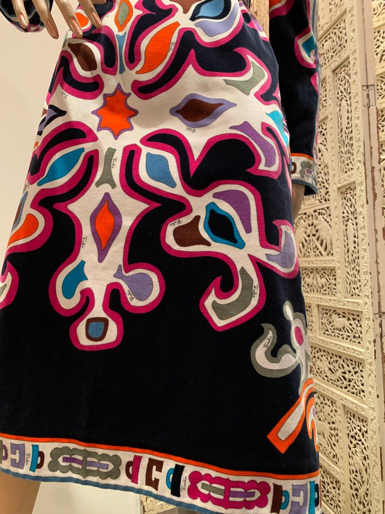 Black 1960s Emilio Pucci Silk Print Jersey Knee-Length Dress W/ V-Neck Empire Waist  For Sale