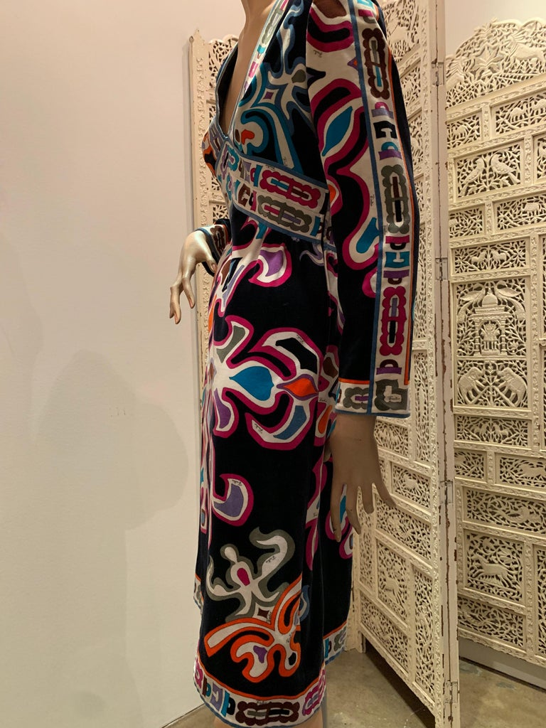 Women's 1960s Emilio Pucci Silk Print Jersey Knee-Length Dress W/ V-Neck Empire Waist  For Sale