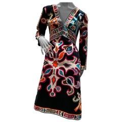 1960s Emilio Pucci Silk Print Jersey Knee-Length Dress W/ V-Neck Empire Waist