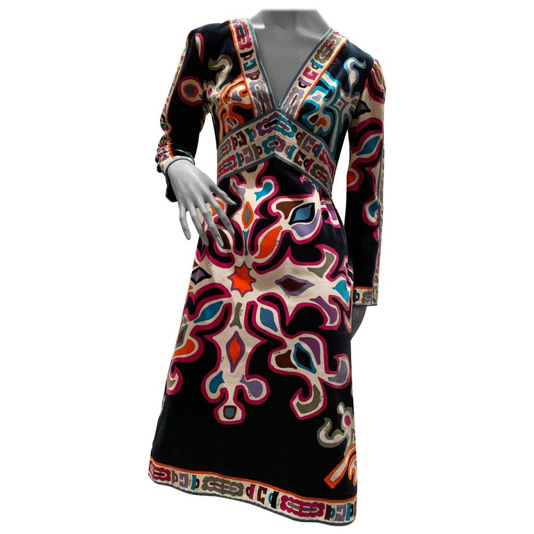 1960s Emilio Pucci Silk Print Jersey Knee-Length Dress W/ V-Neck Empire Waist  For Sale