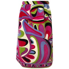 1960s Emilio Pucci Swirling Pink & Lavender Print Cotton Velvet Skirt