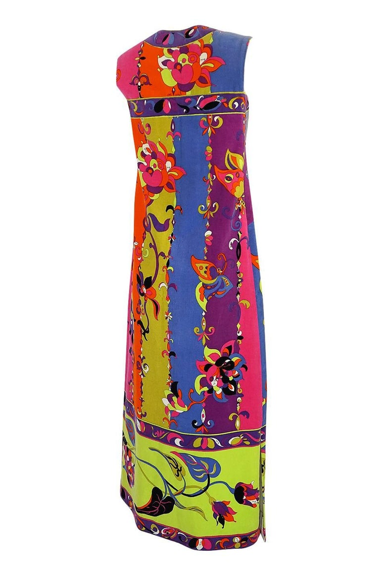 I am always a little floored by the velvet pieces that Emilio Pucci produced, especially in the hey day of the 1960s. The velvet fabric choice really makes the colors pop and take on a rich, lush feel. The colors really hold with the velvet and this
