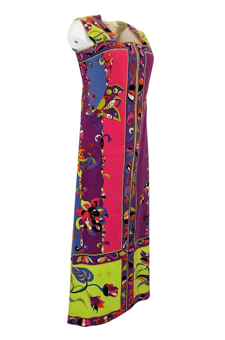 Brown 1960s Emilio Pucci Vivid Printed Velvet Front Zipper Dress For Sale