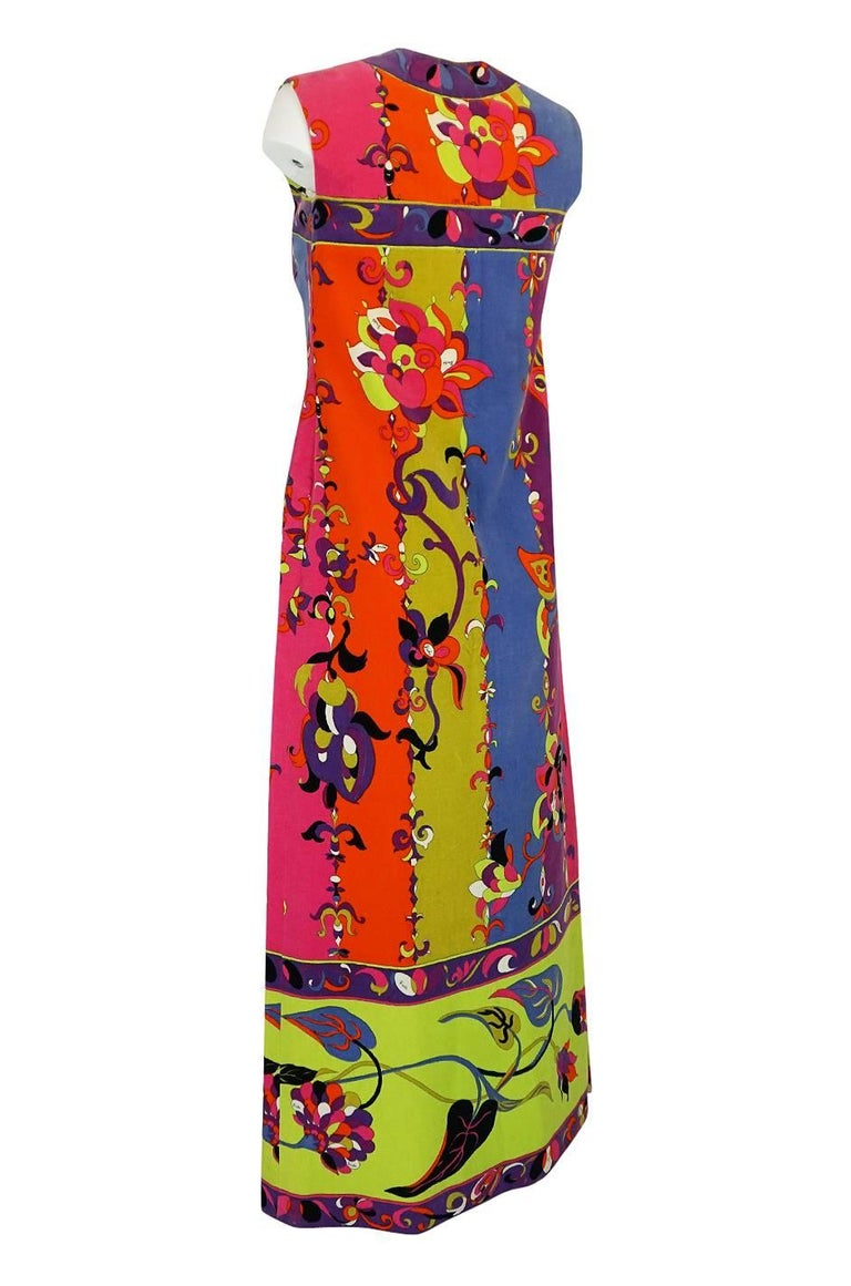 Women's 1960s Emilio Pucci Vivid Printed Velvet Front Zipper Dress For Sale