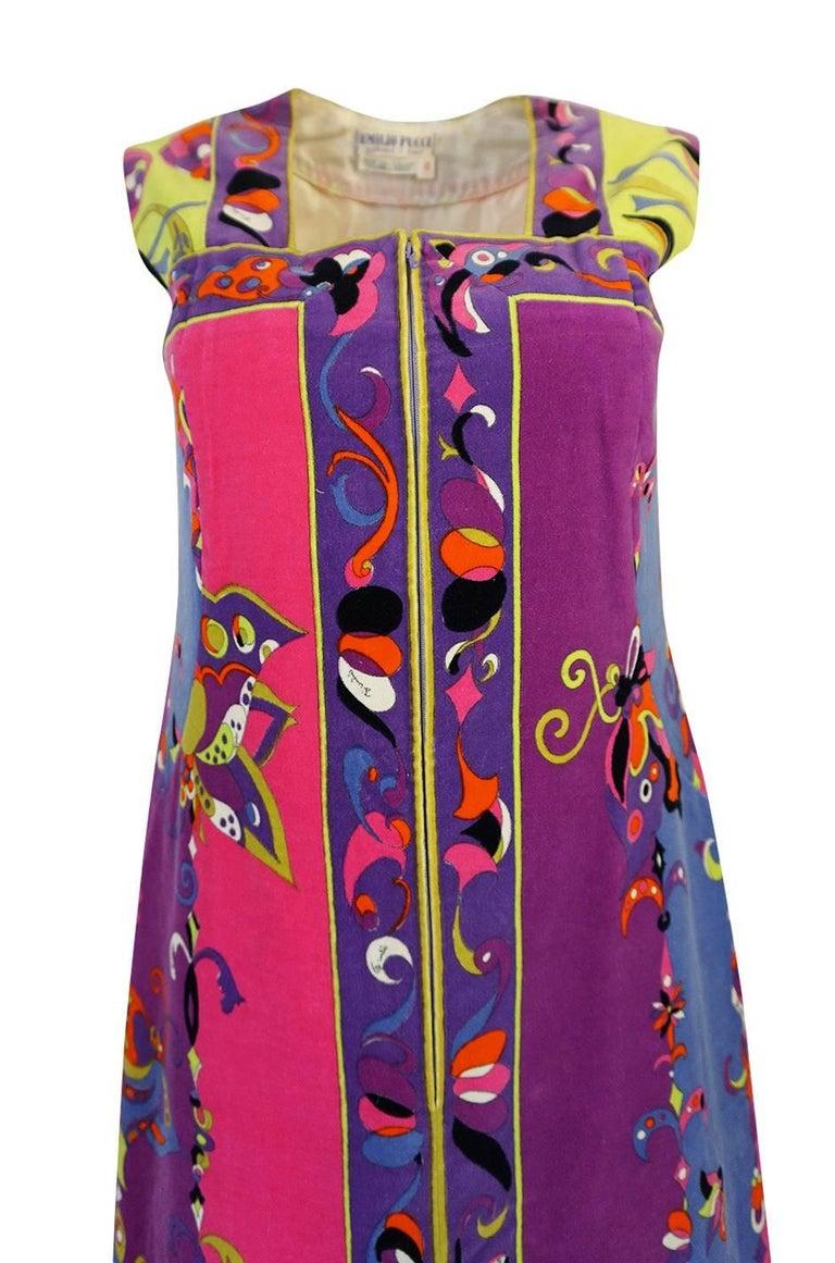1960s Emilio Pucci Vivid Printed Velvet Front Zipper Dress For Sale 1