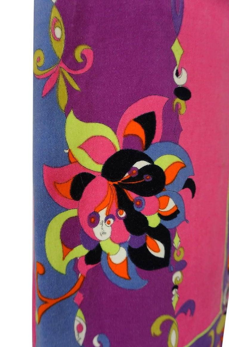 1960s Emilio Pucci Vivid Printed Velvet Front Zipper Dress For Sale 4