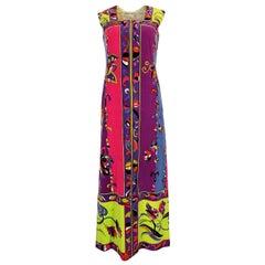 1960s Emilio Pucci Vivid Printed Velvet Front Zipper Dress