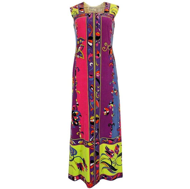 1960s Emilio Pucci Vivid Printed Velvet Front Zipper Dress For Sale