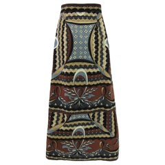 1960s Emilio Pucci Wool Neutral Geometric Print Wrap Skirt