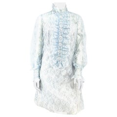 1960s Emma Domb Powder Blue Lace Shift Dress