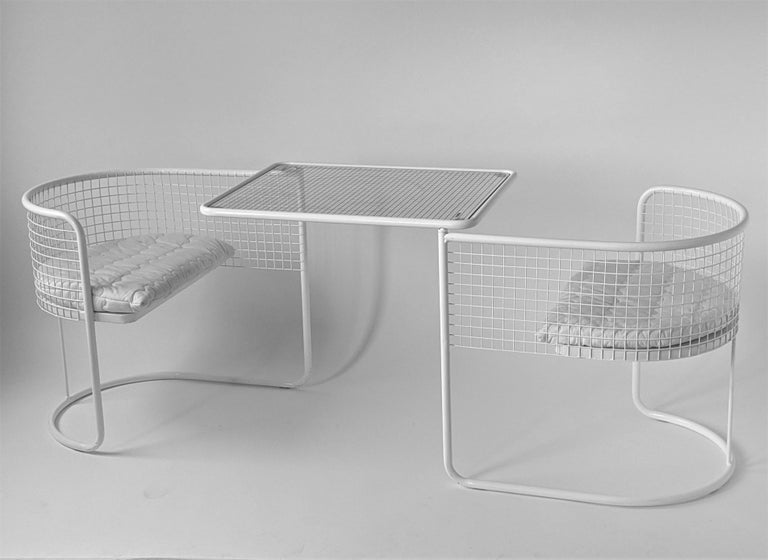 1960s EMU Pivoting Wire Chair Under Table System, Italy For Sale 5