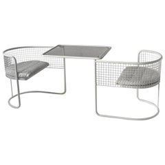 1960s EMU Pivoting Wire Chair Under Table System, Italy