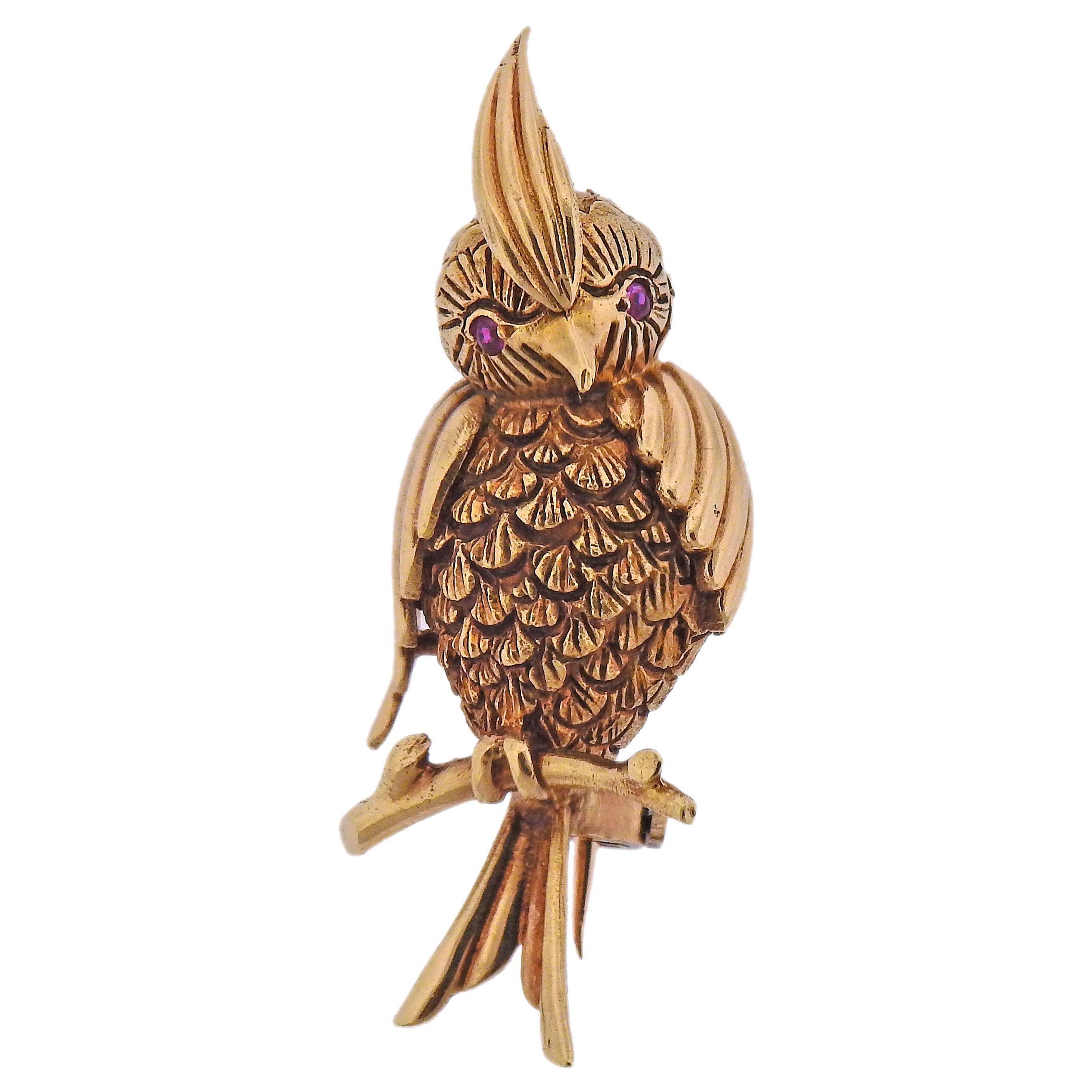1960s Enamel Diamond Gold Bird Brooch Pin