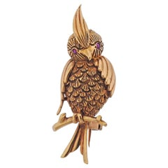 1960s Enamel Diamond Gold Bird Brooch Pin