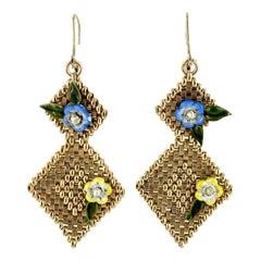 1960's Enamel Floral Mesh 14 Karat Yellow Gold Dangle Drop Vintage Earrings