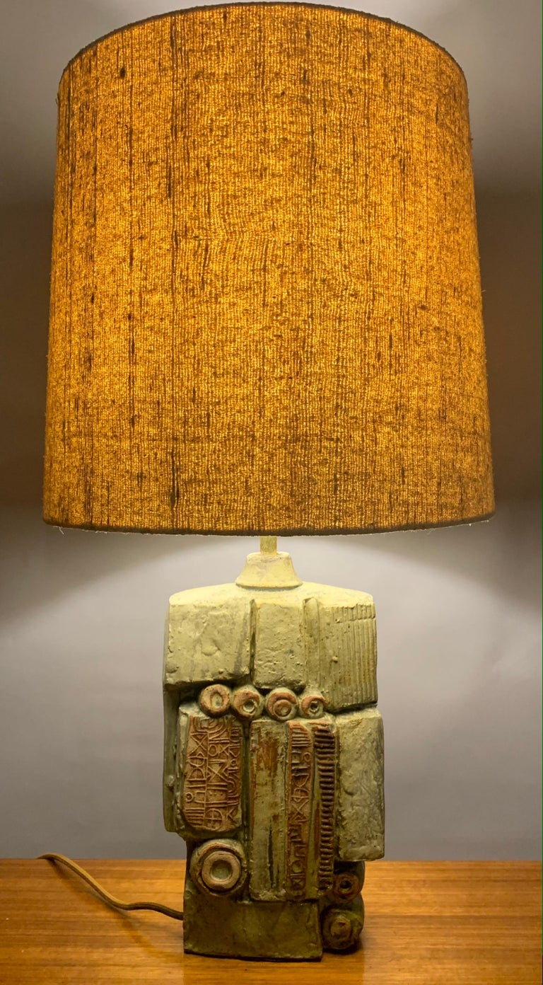 1960s English Bernard Rooke Abstract Sculptural Pottery Ceramic Table Lamp For Sale 2
